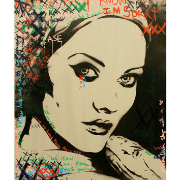 AMERICAN HORROR STORY Marie Laveau Portrait 11x14 Mixed Media Voodoo Graffiti Pop Art Street Art Urban Art on Canvas