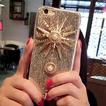 Retro Handmade Sun Pearl Case for iPhone 5s 5se 6 6s Plus + Gift Box 350