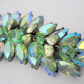 Vendome Green Brooch, Aurora Borealis, Rhinestone Signed Pin