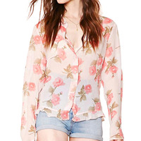 Floral Print Short Collar Long Sleeve Blouse