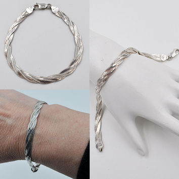 ON SALE Vintage Italy 925 Silver Braided Bracelet, Herringbone, 3 Three Strand, Sterling, Woven, Chain, Italian Silver, Lovely!  #b091