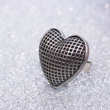 Heart Ring Gunmetal Silver 30% OFF SALE