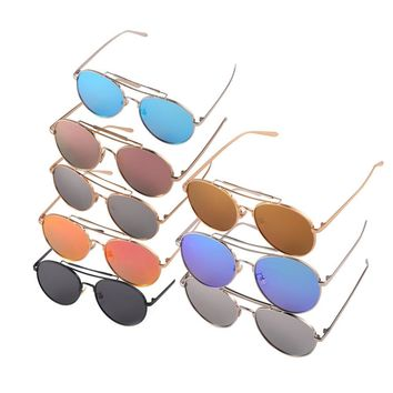 New Fashion 8 Colors Round Sunglasses Stylist The Color Film Reflective Sunglasses Fashionable Unisex Glasses 2016 Hot Sale