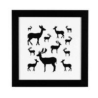 Deer print, black and white print, deer art