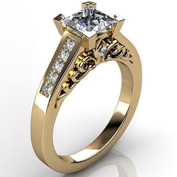 Victorian vintage Fleur-de-Lis 14k yellow gold diamond princess cut sapphire floral engagement ring, bridal ring ER-1093-2