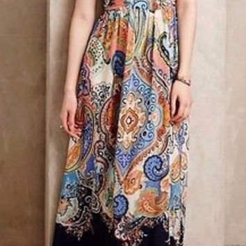 Anthropologie Vizcaya Maxi Dress by Maeve Sz 00 P - NWT
