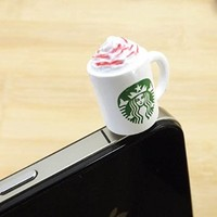 35%OFF Starbuck Chocolate Frapuccino Sundae Ice Cream Latte Milk Eco Cup Coffee Mug Dust Plug 3.5mm Smart Cell Mobile Phone Plug Headphone Jack Earphone Cap Dustproof Plug Charm iPhone Plug Charm for iPhone 4 4S 5 5S 6 HTC Samsung Ipad 2 3 4 Mini Ipod Blac