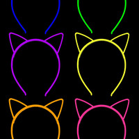 Glow in the Dark Neon Cat Plastic Headbands