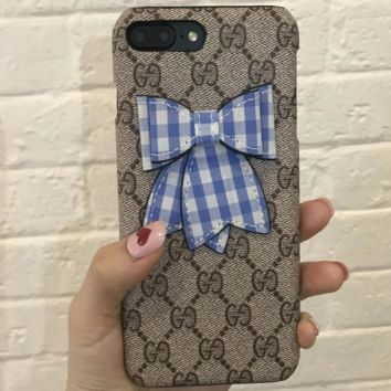 GUCCI Tide brand bow female iphone7/8plus mobile phone case cover F0969-1 blue