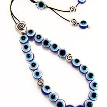 Blue Evil Eye Greek Komboloi Handmade Worry Beads with Unique Metal Master Bead