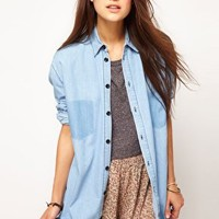 ASOS Denim Boyfriend Shirt with Shadow Pocket at asos.com