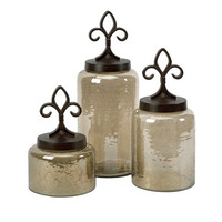Fleur-de-Lis Lidded Jars - Set of 3