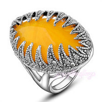 Yellow Color Resin Faux Gem Marcasite Crystal Cocktail Ring Party for Women Gift R1022