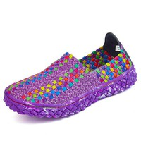 Colorful Knitting Breathable Slip On Sport Shoes