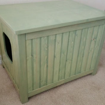 Sage! Small, Odor Free, Custom, Hand Made in USA, Wood Cat Litter Box Chest. No Assembly Needed. Not MDF