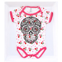 Cherries Skull Baby Bodysuit 3, 6, 9 months. Pink White Rockabilly Girl clothes. Trendy Cute Ringer snap tshirt toddler. Tattoo kids