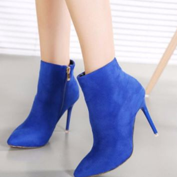 Stylish Suede Ankle Bootie Boots