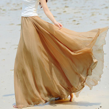 Fashion Bohemian Princess Skirt Pleated Maxi Skirt Multi Colors Amazing Chiffon Women Long Skirt High Quality Autumn Skirts 2016