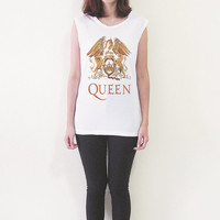 Queen UK Rock Band Tank Top Freddie Mercury Shirt Muscle Tee Women T Shirts Size S M L