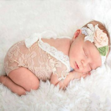 Newborn Lace Rompers Baby Photography Props Clothes for Infant Girls Backless Bow Princess Jumpsuits Clothing MU984366
