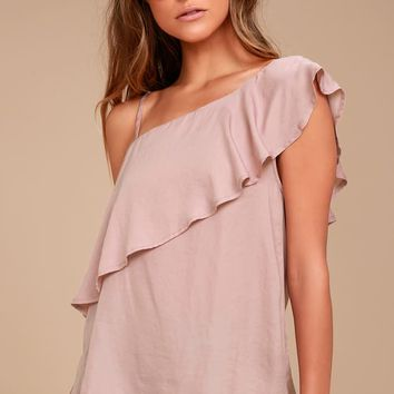 Chic Frills Mauve Satin One Shoulder Top