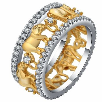 Pure Copper Antique Gold Color Lucky 3D Elephant Ring Romantic Zircon Ring For Man/Woman Jewelry Drop Shipping