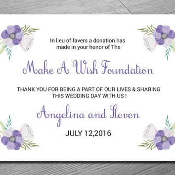 Favor Donation Card Template | DIY Wedding Favor Donation Printable | Editable Microsoft Word | WS-004