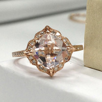 8mm Cushion Cut Morganite Engagement Ring 14K Rose Gold!Retro Vintage Floral,Gemstone Diamond Wedding Bridal Ring,Valentine's day gift