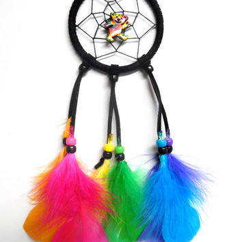 Tye Dyed Teddy Bear Dream Catcher, Grateful Dead Deady Bear, Car dream catcher