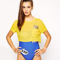 Yellow Cat Print on Pocket Cropped Top