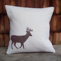 Deer Decorative Pillow Cover 16 x 16 by North Country Comforts / Burlap Pillow Cover / Cabin and Lodge Decor / More Colors Available