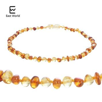 EAST WORLD Cognac Gold Amber Teething Bracelet/Necklace Baltic Natural Amber Collar Boy Girls Birthday Gifts Baby Jewelry