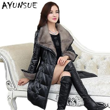 Genuine Leather Jacket Women 100% Pure Mink Fur Collar 2017 Warm 90% White Duck Down Sheepskin Leather Jackets Plus Size HJ563