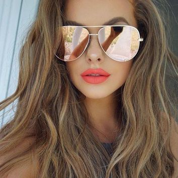 Retro Vintage Sunglasses women mirror shades mens pink sunglasses rose gold sun glasses female 2017 new trendy quay eyewear UV