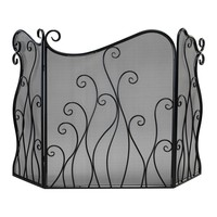 Evalie Contemporary Bronze Iron Fireplace Screen by Cyan Design