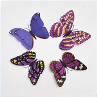 Double Wings Butterfly Wall Stickers Home Decor Decoration  Animal PVC 3D Sticker 4pcs Green Rose Yellow Blue 15CM/5.9INCH SM6