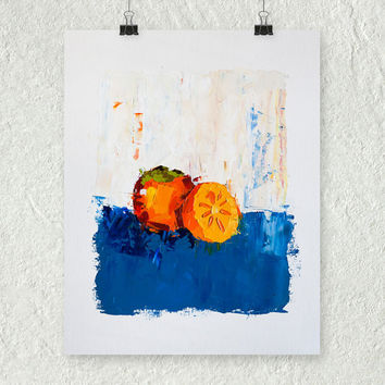 Persimmon Painting, Orange and Blue Art, Small Wall Art, Fruit Art, Food Painting, Contemporary Art, Art on Paper, Kitchen Decor, 11x14