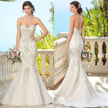 Luxury Crystal Beading Sexy Mermaid Country Western Wedding Dresses Bridal Dress 2017 vestido de noivas Custom Size NT23
