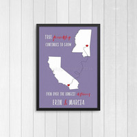 Best friend print | going away best friend gift | Best friend long distance present | BFF state art |True friendship continues to grow