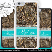 Camo Aqua Lace Monogram iPhone 5C 6 Plus Case iPhone 5s 4 case Ipod Realtree Custom Name Personalized Country Inspired Girl