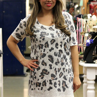 Spotted Leopard Print Knit Top in Ivory