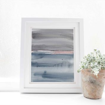 Blue and Gray Watercolor Painting Abstract Ocean Wall Art Print or Canvas