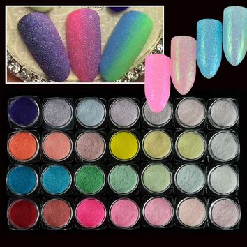 28pcs Laser Sugar Nail Glitter Powder Dust Holographic Ultra Thin Sequins Nail Art Tips Glitter Decorations for Nails LATY06-33