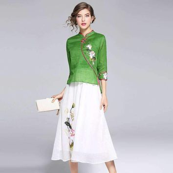 Womens Embroidery Two-Piece Dress Slim Seven Sleeve Dress