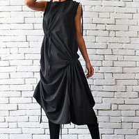 NEW Extravagant Casual Loose Dress/Asymmetric Black Tunic Top/Loose Sleeveless Tunic Dress/Maxi Black Dress/Drape Oversize Loose Top