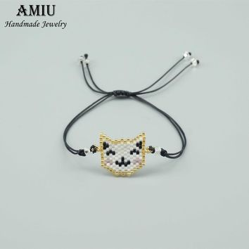 AMIU Handmade Emoji Bracelet Lovely Cat Popular Love Lucky Charm Bracelets & Bangles For Women Men 2018 MIYUKI Bracelets