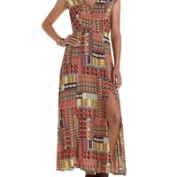 Red Combo Geometric Print Open Back Maxi Dress by Charlotte Russe