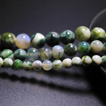 2016 New Tree Agate Dendritic Agate Natural Stone Beads For Jewelry Making Round Shape Beads Diy Bracelet 4mm 6mm 8mm 10mm 12mm
