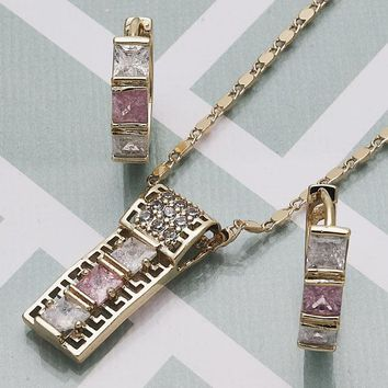 Gold Layered Women Greek Key Earring and Pendant Adult Set, with Pink Cubic Zirconia, by Folks Jewelry
