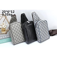 GUCCI Tide brand double G printing men and women models wild casual chest bag Messenger bag